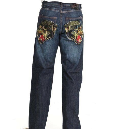 ED HARDY CHRISTIAN AUDIGIER MENS EMBROIDERED PANTHER DENIM